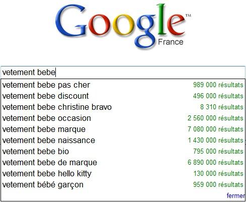 """La recherche assistée de Google sur l'expression """"vetement bebe"""""""