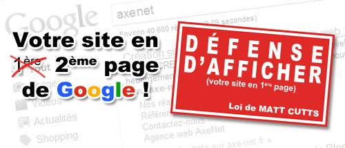 défense d'afficher en première page de Google