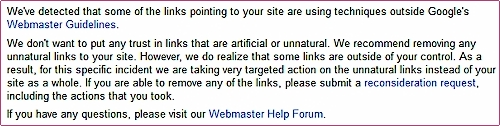 message Google webmaster Tool