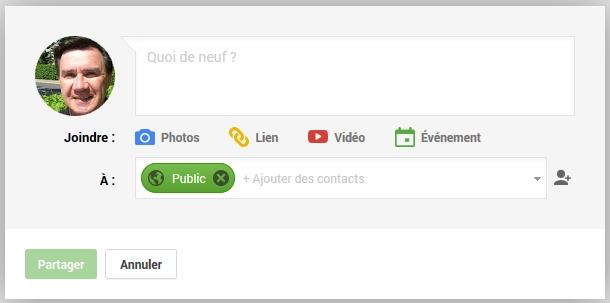 Fenêtre Google+