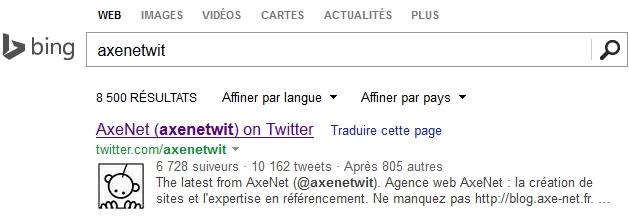 Authorship automatique avec Twitter sur Bing