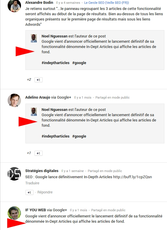 exemple commentaires Google Plus