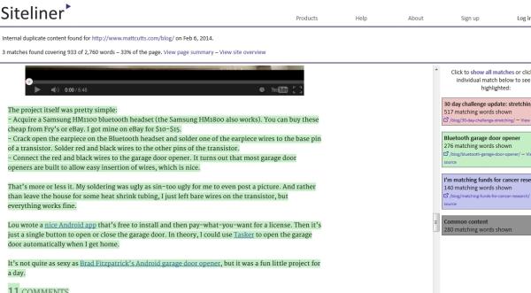 Mise en avant du duplicate entre la homepage et une page de détail d'article sur le blog de Matt Cutts