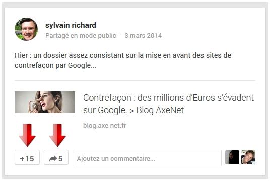 Détail des partages et +1 sur ce post Google Plus