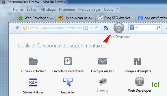 Faites glisser la roue dentée Web Developer dans votre menu supérieur