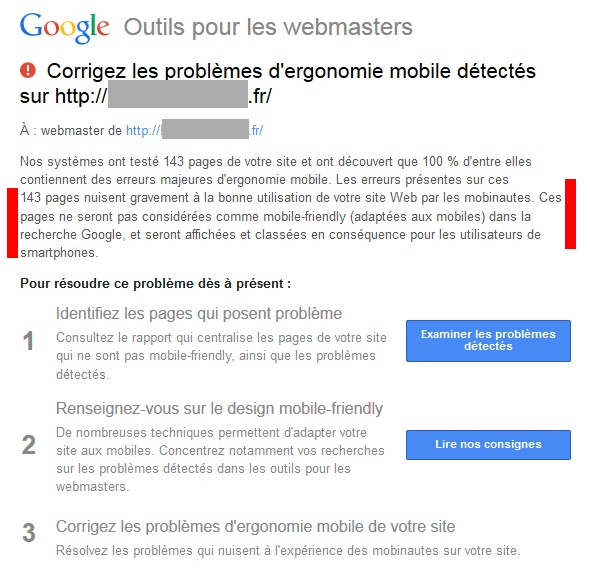 Exemple de mail et message de Google