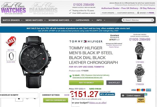 Même montre chez le marchand pour 146,28 euros !