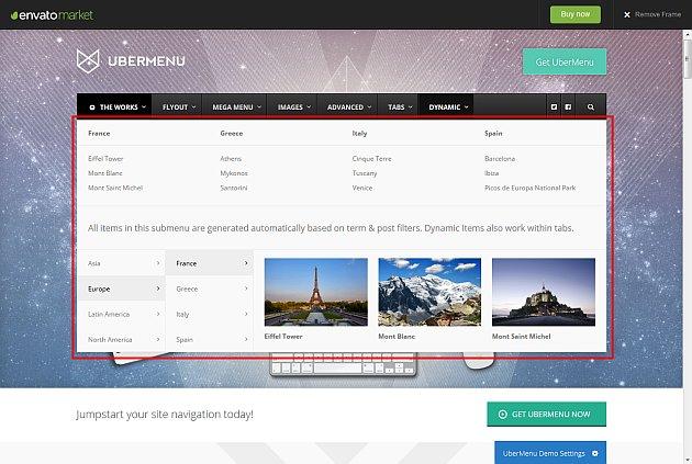 Un sous menu qui agit sur les images du méga menu