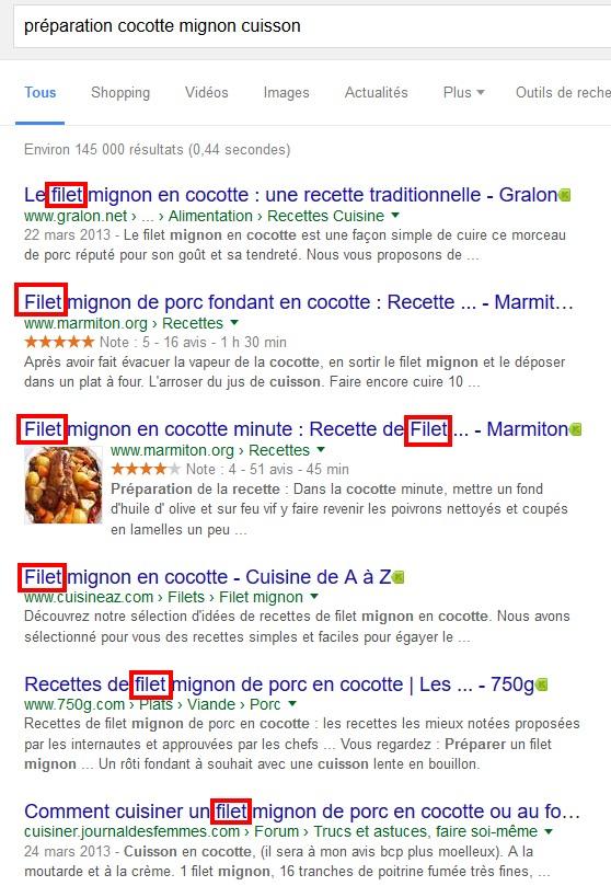 """Du """"filet"""" partout, pourtant je n'ai pas utilisé ce mot dans ma recherche."""