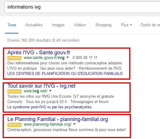 l'état et ivg.net se battent aussi sur Adwords
