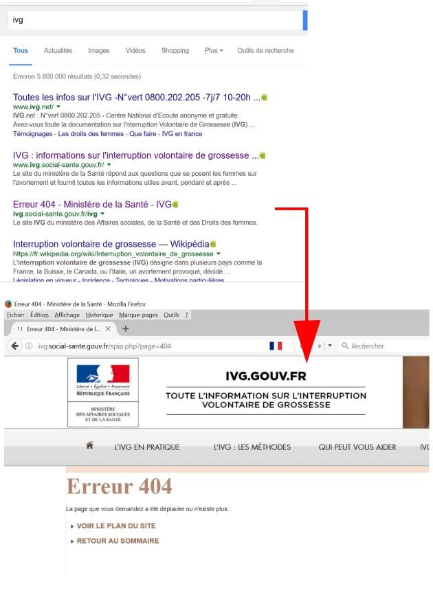 A croire que même Google a pitié en indexnt une URL en 404 :-)