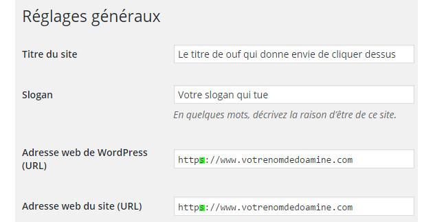 reglage wordpress https