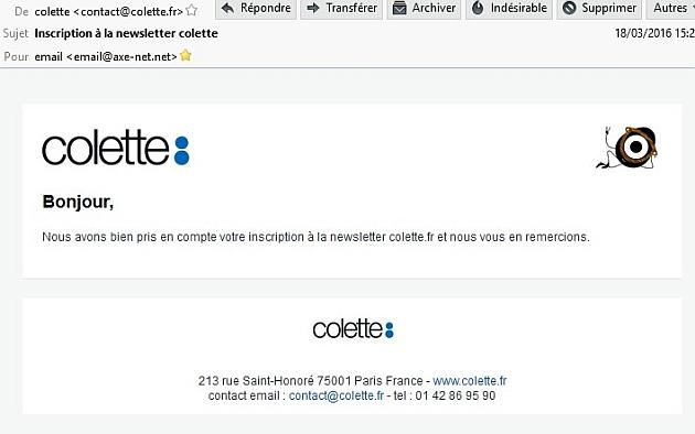 Et hop, Colette m'inscris à sa newsletter car j'ai du oublier de décocher la case...