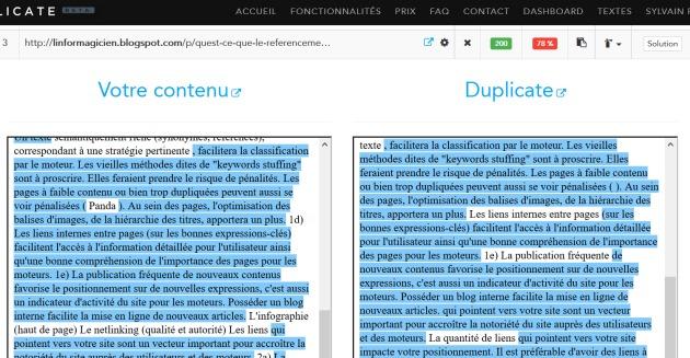 Détail du texte copié pour une page de plagiaire