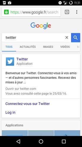 Sur la requête Twitter, l'application déjà installée est mis en avant dans les SERPs mobiles de Google