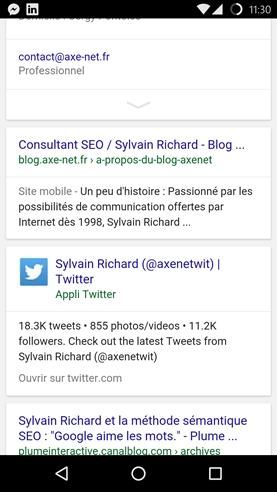 Sur la requête Sylvain Richard (tapée comme ça au hasard), le résultat Web du site Twitter est lui aussi remplacé par l'application avec un lien direct sur son profil au sein de l'application.